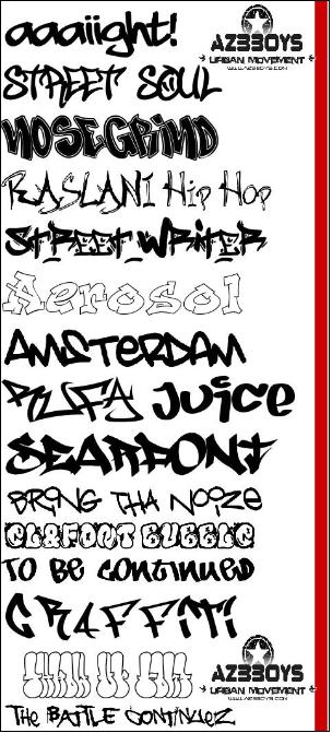 Graffiti fonts letters black